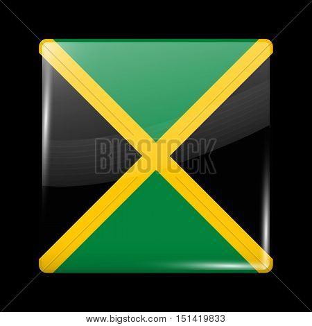 Flag Of Jamaica. Glossy Icon Square Shape