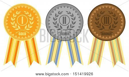 Gold, silver and bronze medals with ribbons, vector illustration
