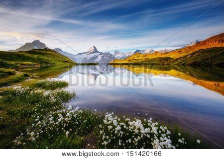 Great view of Mt. Schreckhorn and Wetterhorn above Bachalpsee lake. Dramatic and picturesque scene. Popular tourist attraction. Location place Swiss alps, Grindelwald valley, Europe. Beauty world.