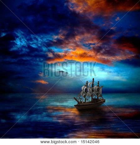 Ship On Dark Sea