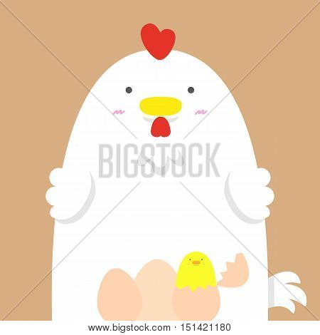 cute big fat white hen on light brown background