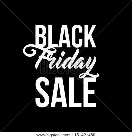 Black Friday Sale illustration for banners, posters, flyers, newsletters, ads. Modern brush script, typographic vector design.