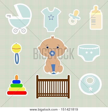 a set of baby elements, cute stickers for newborn girl. template card greeting invitation. baby shower and arrival. vector illustration. boy