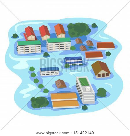 Vector of building and house tree drowning.
