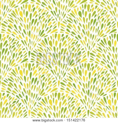 Fountains of green blobs. Seamless background. Repeatable decorative pattern. Green leaves tracery. Vector illustration.