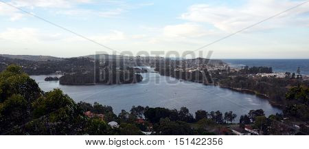 Narrabeen Lakes from Collaroy Plateau (Sydney NSW Australia)