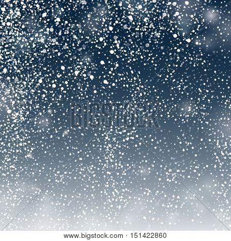 Abstract Lights  and Snow on  Dark Grey Background, Vector Illustration for christmas banner, poster, greeting card. Night sky with snow, Christmas  background