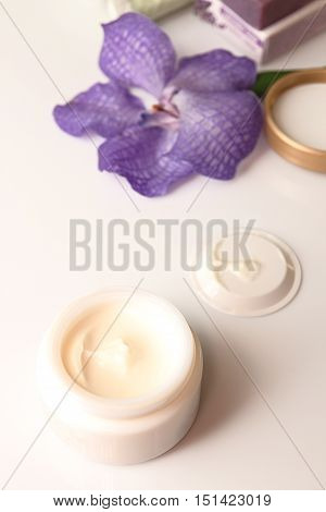 Still Life With Cream Jar, Flower And Soap