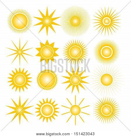 Set of sixteen different icons sun isolated on white background design elements of weather vector illustration.