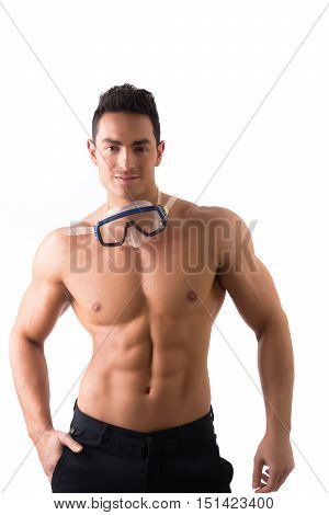 Muscular young man with swimming mask or goggles, isolated on white
