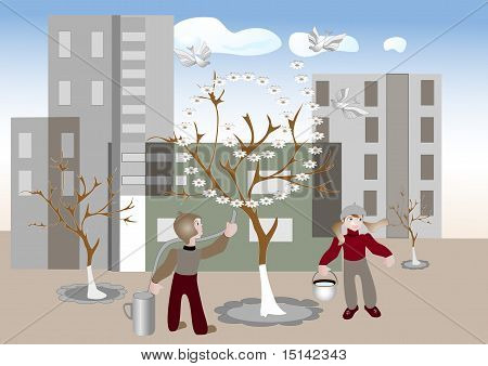 Spring has come to city. Illustrations.