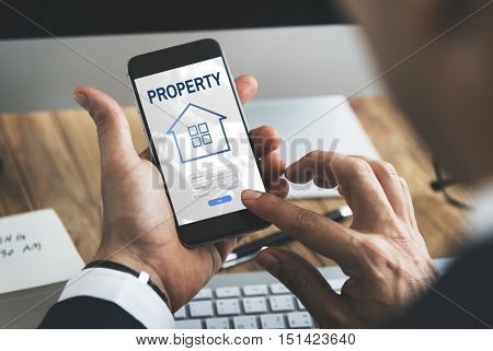 Mortgage House Loan Website Login Graphic Concept