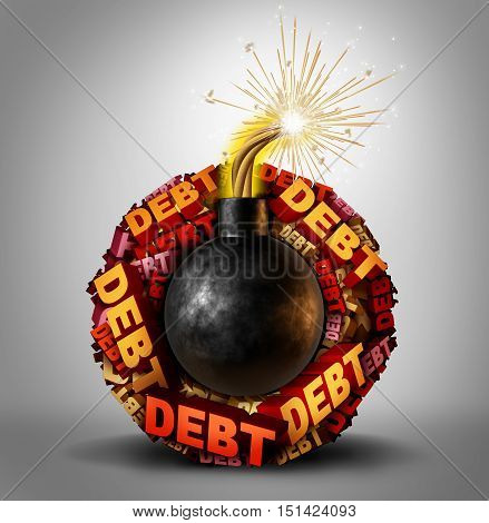 Debt bomb business and finance concept as an explosive lit dynamite object with a group of text around it representing dangerous liability and financial deadline stress and vulnerability as a 3D illustration.
