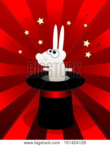 Cartoon Bunny in a Magic hat, vector illustration