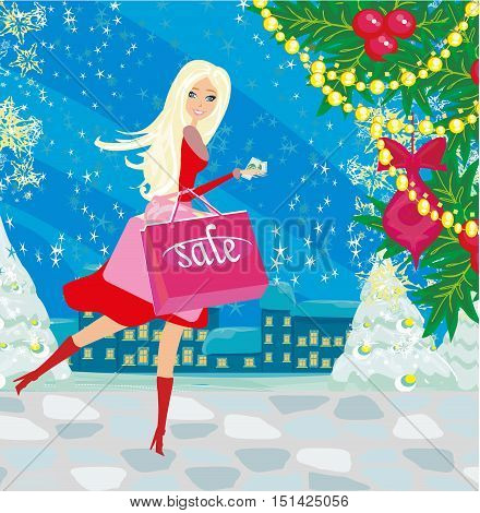 beautiful woman doing the shopping in winter , vector illustration
