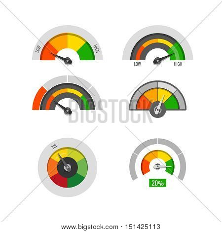 Speedometer indicators gauges low, moderate and high measurement levels vector stock. Level and rating illustration