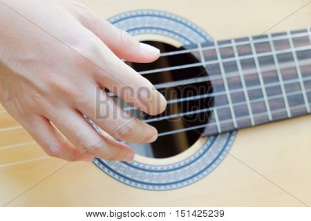 close up image of playing guitar background