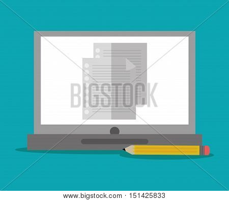 Laptop document and pencil con. Office work supplies and objects theme. Colorful design. Vector illustration