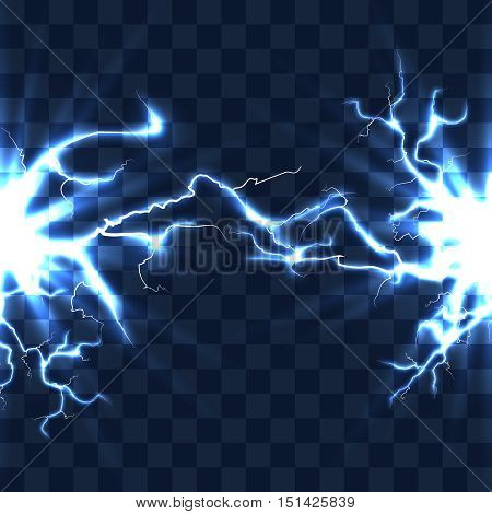 Electrical discharge with lightning beam isolated on checkered transparent background vector. High voltage current illustration, bolt, explosion, spa