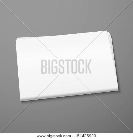 Blank newspaper mockup isolated on gray background. Publication daily tabloid. Vector illustration