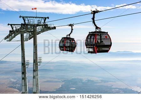 cabins of ski lift on winter mountain resort