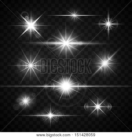 Lens flares glare lighting effects vector set. Shiny stars isolated on checkered background illustration