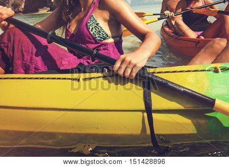 Kayaking Vessel Boat Tourist Travel Nautical Concept