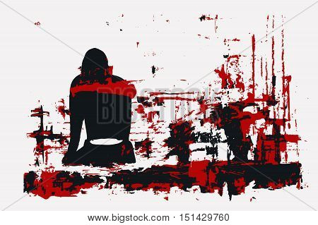 vector illustration, paint, girl sitting back, red black gamma, the picture