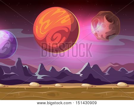 Cartoon alien fantastic landscape with moons and planets on starry sky for computer game background. Fiction gui with mountain illustration
