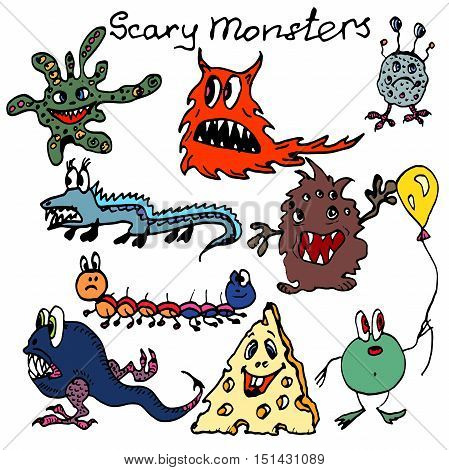 Hand drawn vector colorful monsters. Cartoon characters. Halloween theme.