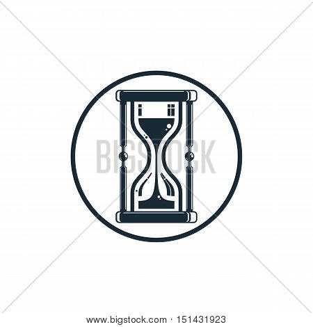 Time conceptual stylized icon. Old-fashioned hourglass isolated on white stylish clock pictogram.