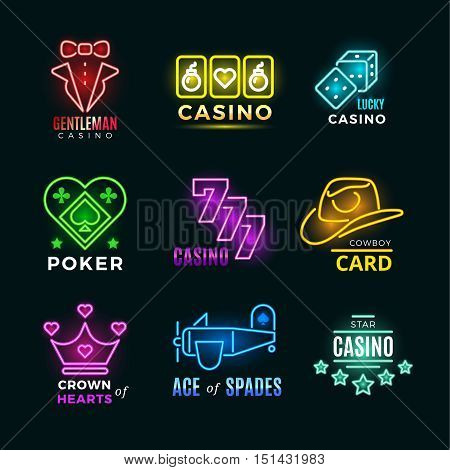 Neon light poker club and casino vector signs set. Fortune and risk, illumination logotype illustration