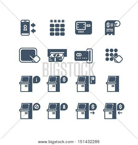 Kiosk terminal service info vector icons. Atm display with information illustration