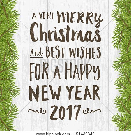 Merry Christmas and happy new year greeting card. Hand written brushed text on Wood plank silver background with twig. vector illustration.