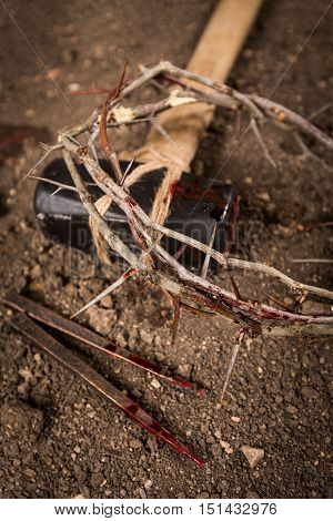 Crown of Thorns, Nails and Hammer with Blood