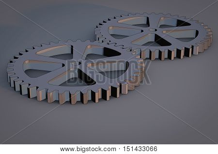 Gears as a symbol for teamwork (3d rendering)