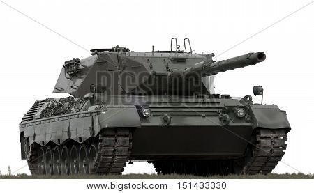 Military Equipment In The Gaps Isolated Background. Tank