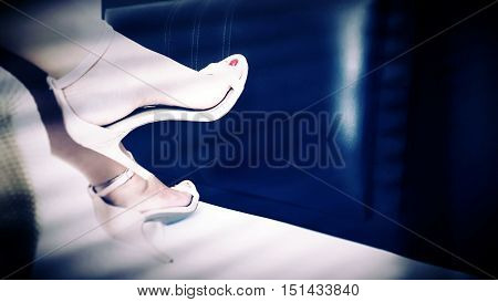 high heels leg nude color on background