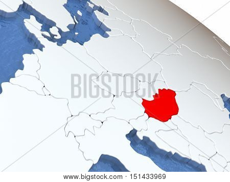 Hungary On Globe