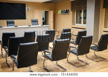 MOSCOW, RUSSIA - FEB 04, 2016: modern meeting room in situation Centre TSODD (center traffic management).