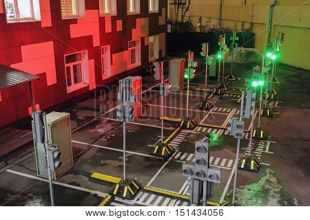 MOSCOW, RUSSIA - FEB 04, 2016: test platform, which is processed by work of traffic lights and coordination