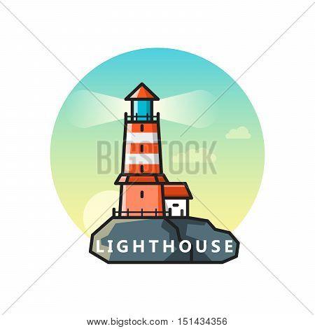 Vector flat illustration of lighthouse on rocks. Outline design logo template
