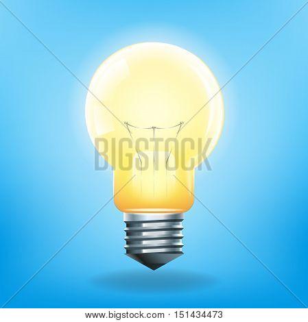 Realistic light bulb illustration on blue background