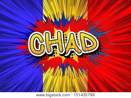 Chad - Comic book style text on comic book abstract background.