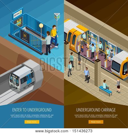 Underground vertical isometric banners set with people and platform symbols isolated vector illustration