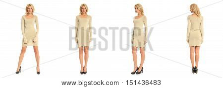 Beautiful Blonde Woman In Tight Dress Isolated On White