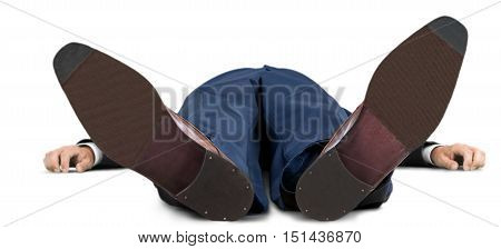 Portrait of a Businessman Lying Flat on his Back