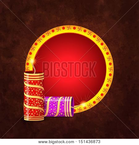 Swastika decorated, Frame with glossy exploding Crackers, Beautiful Greeting Card, Creative Illustration for Indian Festival of Lights, Happy Diwali Celebration.
