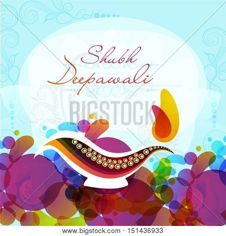 Elegant greeting card design decorated with creative Lit Lamp and colorful abstract design for Indian Festival of Lights, Shubh Deepawali (Happy Deepawali or Diwali) celebration.