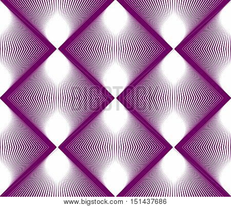 Geometric purple stripy seamless pattern bright vector abstract background. Graphic symmetric ornament.